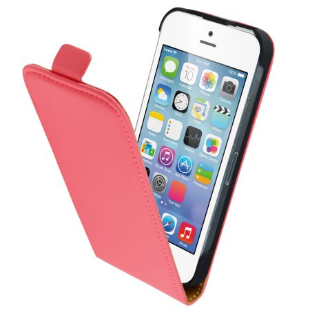 Mobiparts Premium Flip Case Apple iPhone 5/5S/SE Peach Pink PRE-FLIP-IP5-15