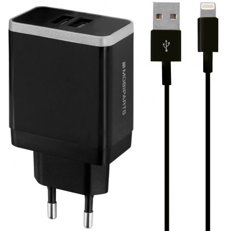 Mobiparts Wall Charger Dual USB 2.4A + Lightning Cable Black MP-37543