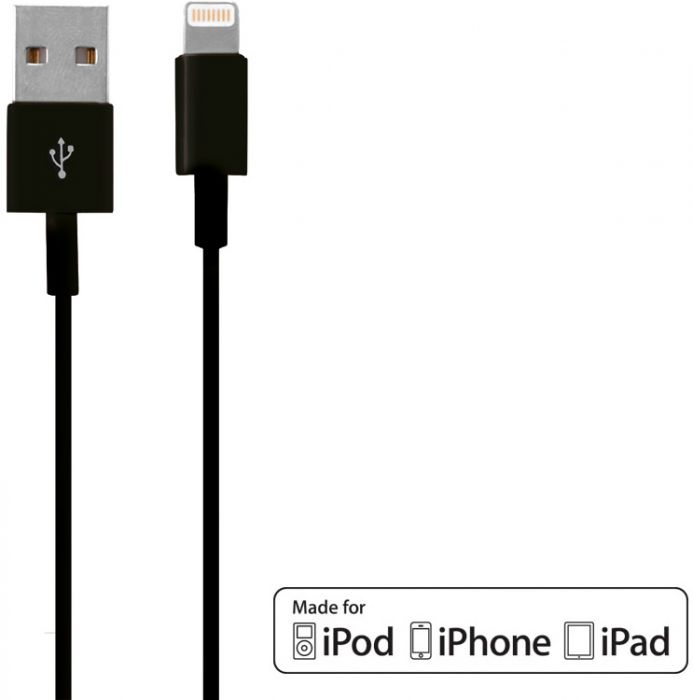 Mobiparts Apple Lightning to USB Cable 2.4A 1m Black MP-CAB-MFILIGHT-01