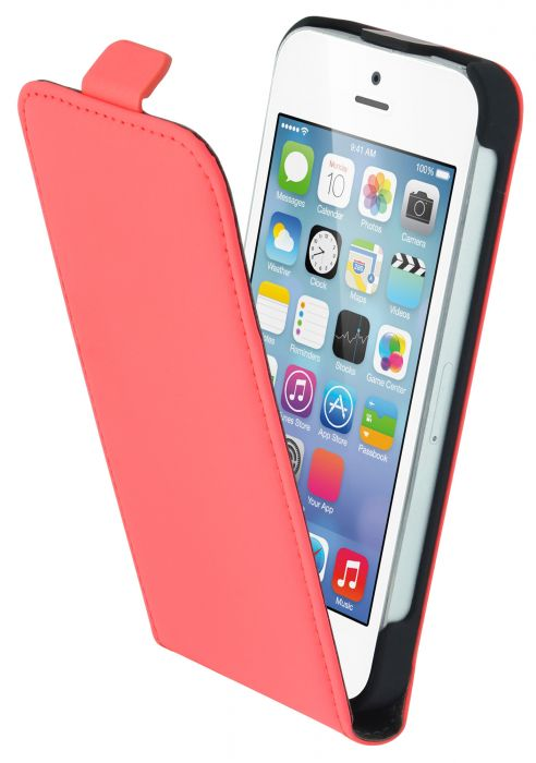 Mobiparts Premium Flip Case Apple iPhone 5/5S/SE Peach Pink PRE-FLIP-IP5V2-15