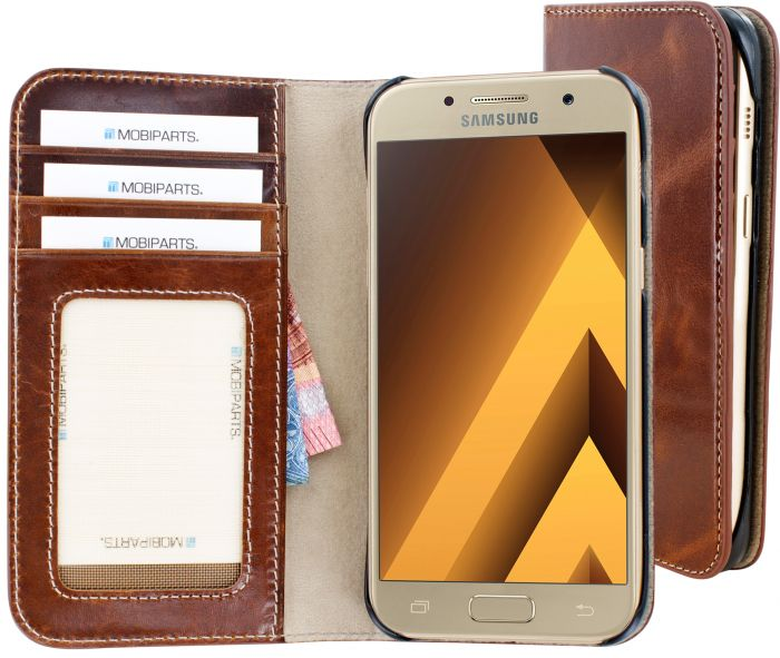 Mobiparts Excellent Wallet Case Samsung Galaxy A3 (2017) Oaked Cognac MP-55217